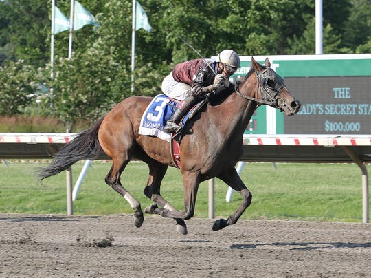 Pink Sands (No. 3), with Jose Ortiz riding won the $100,000 Lady's Secret Stakes Saturday at Monmouth Park