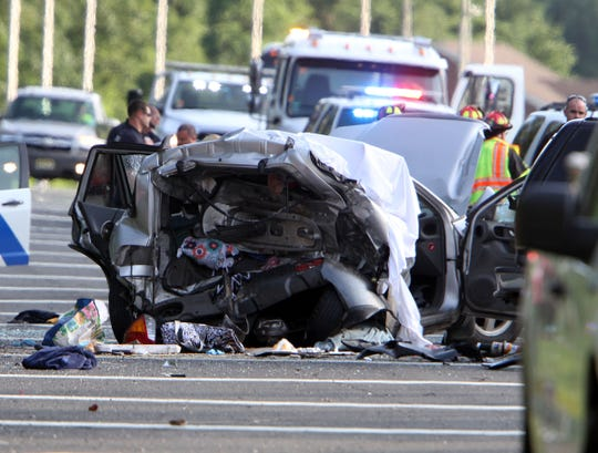The scene of a severe accident that left multiple people injured and a possible fatality on the Garden State Parkway Northbound at milepost 93.3 in Brick Township Saturday afternoon, June 22, 2019. www.subscribe.app.com