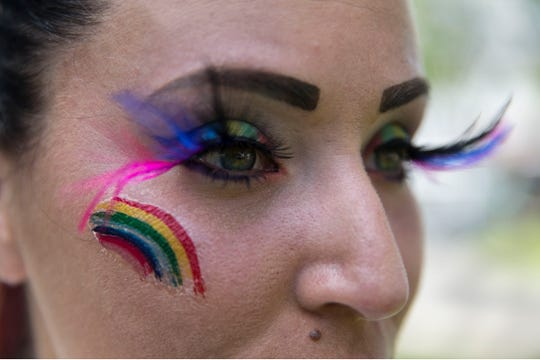 Kelly Servodio of Toms River painted her eyes in rainbow for the celebration. The first Toms River pride celebration takes place in downtown at various locations including Robbins Street.  Toms River, NJSaturday, June 22, 2019
