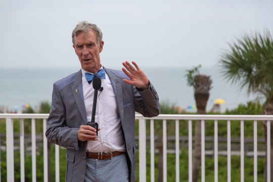 Famous science educator and CEO of the Planetary Society Bill Nye speaks during an informal meeting in Cocoa Beach on Saturday, June 22, 2019. The Planetary Society's LightSail-2 spacecraft is set to launch on a SpaceX Falcon Heavy rocket