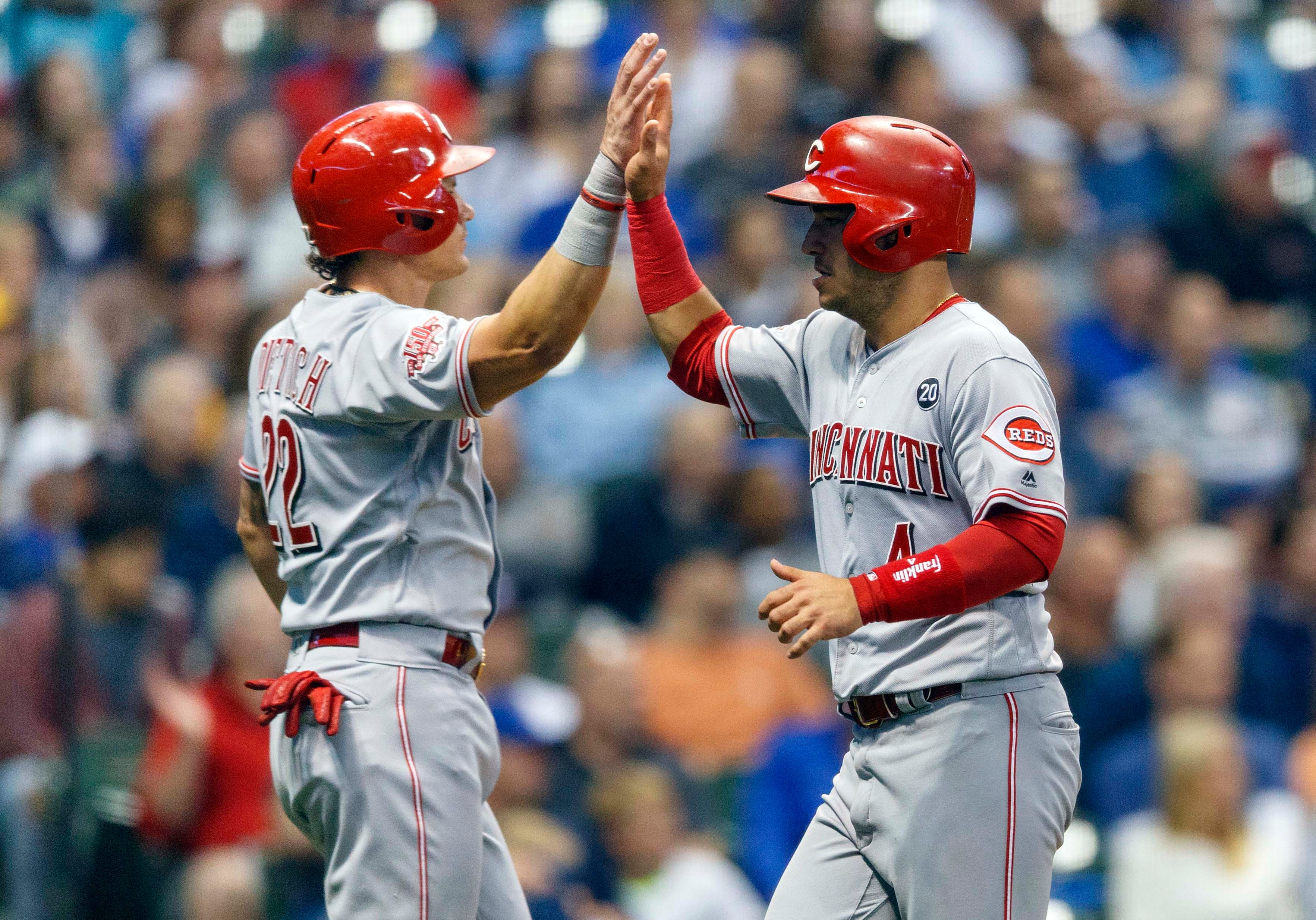 f2107cee5 Derek Dietrich tied an MLB record when he was hit by 3 pitches in the Reds'  11-7 win over the Brewers.