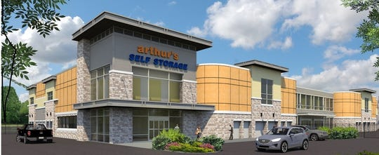 An architectural rendering of the proposed Arthur's Self Storage on Route 22 in Branchburg.