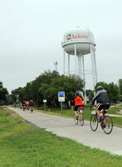 Cyclists head out along the High Trestle Trail during the Bike MS ride starting at the Ankeny Market and Pavilion, 715 W 1st St, on Saturday, June 22, 2019 in Ankeny. Riders could choose routes of 25, 50, 75 or 100 miles.
