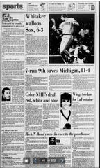The June 9, 1983, front page of the Detroit Free Press, from the day after the Red Wings selected Steve Yzerman with the fourth overall pick.