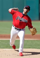 Indians starting pitcher Aaron Civale delivers in the first inning against the Tigers on Saturday in Cleveland.