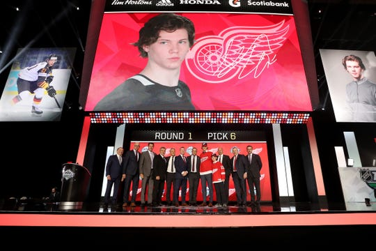 Moritz Seider was selected sixth overall by the Detroit Red Wings during the first round of the NHL draft at Rogers Arena on June 21, 2019 in Vancouver.