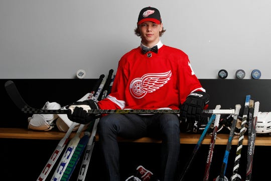 Moritz Seider poses for a portrait after being selected sixth overall by the Detroit Red Wings during the first round of the NHL draft at Rogers Arena on June 21, 2019 in Vancouver, Canada.