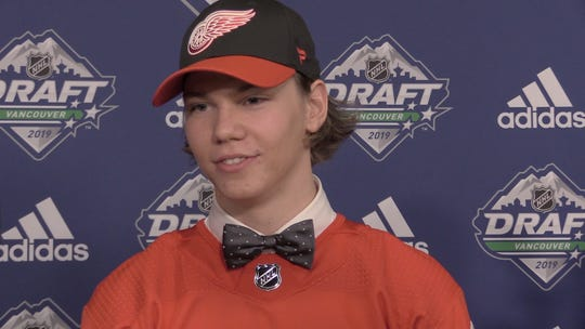 Moritz Seider, of Mannheim, Germany, is the Detroit Red Wings' first round pick, 6th overall, of the 2019 NHL Draft in Vancouver.