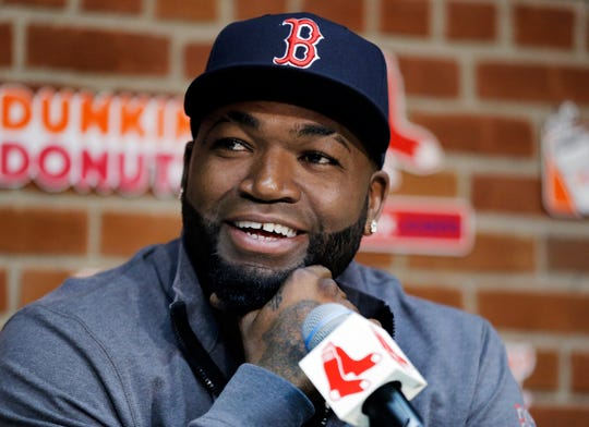 In this Sept. 30, 2016, file photo, Boston Red Sox's David Ortiz speaks during a news conference before a baseball game against the Toronto Blue Jays at Fenway Park, in Boston.
