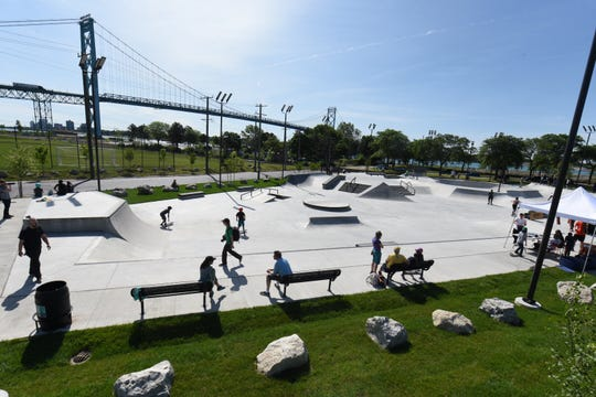 The park is located near Detroit's Ambassador Bridge.