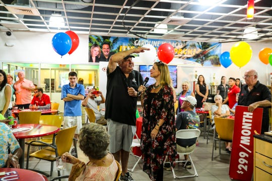 Caroline Renfro's return to Fuccillo Kia was celebrated with a party Saturday, June 22, 2019, at the car dealership off Pine Island Road. Billy Fuccillo, owner of Fuccillo Automotive Group, was there to welcome her back officially. Renfro and Fucillo recorded TV commercials in and around the cars while their fans and car buyers watched.