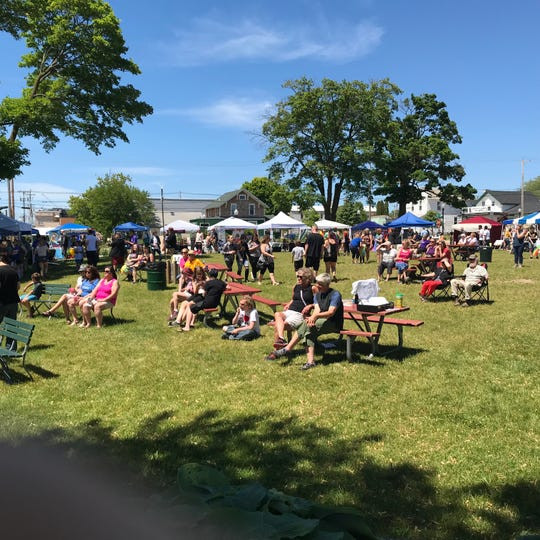 Open Door Pride Festival grounds is held Saturday, June 22, 2019, in Sturgeon Bay, Wis.