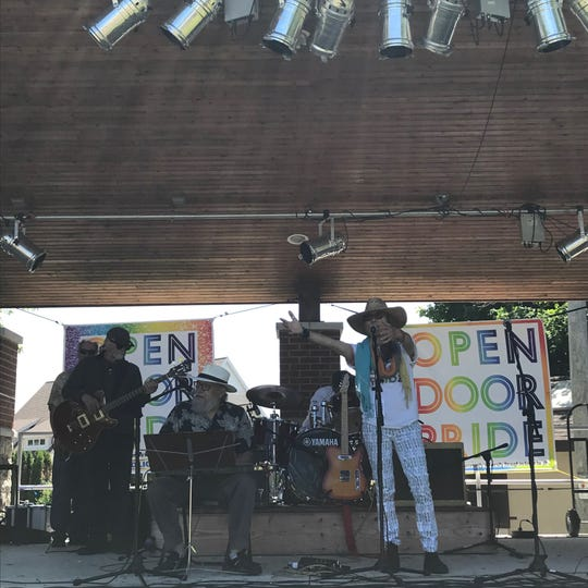 Cathy Grier and band perform on Open Door Pride Festival's stage on Saturday, June 22, 2019, in Sturgeon Bay, Wis.