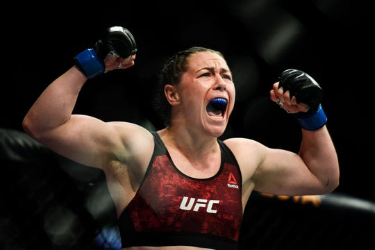 """Meatball"" Molly McCann, of Liverpool, England defeats Ariane ""Queen of Violence"" Lipski at UFC Fight Night in Greenville on Saturday, June 22, 2019."