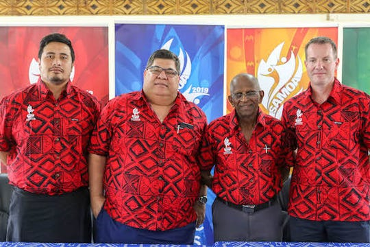 The Pacific Games Council gave Samoa its stamp of approval after an inspection. The council includes president of the council Vidhya Lakhan, second from right and Andrew Minogue, at right.