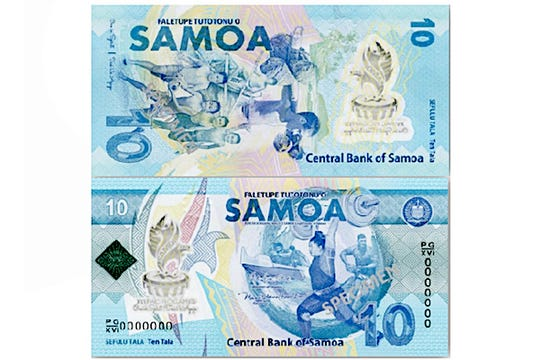 The 10 tala commemorative banknote released for the 16th Pacific Games in Samoa