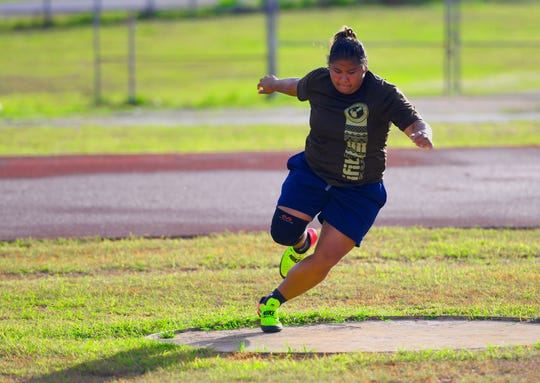 Genie Gerardo trains with other athletes at the George Washighton High School track in Mangilao on Thursday, June 20, 2019. Gerardo is slated to represent Guam in the 2019 Pacific Games to be held in Samoa next month.