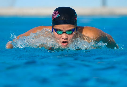 Mineri Gomez practices her swimming technique at the Hagåtña Pool on Friday, June 21, 2019, as she prepares and trains to represent Guam in the 2019 Pacific Games competition, scheduled to be held in Samoa next month.