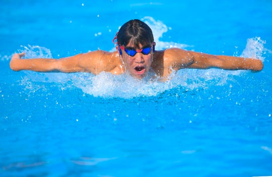 Sebastian Castro practices his swimming technique at the Hagåtña Pool on Friday, June 21, 2019, as he prepares and trains to represent Guam in the 2019 Pacific Games competition, scheduled to be held in Samoa next month.