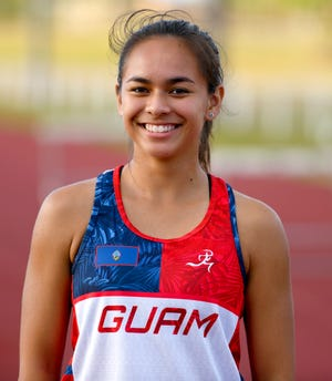Madison Packbier takes a break while training with other athletes at the George Washighton High School track in Mangilao on Thursday, June 20, 2019. Packbier is slated to represent Guam in the 2019 Pacific Games to be held in Samoa next month.