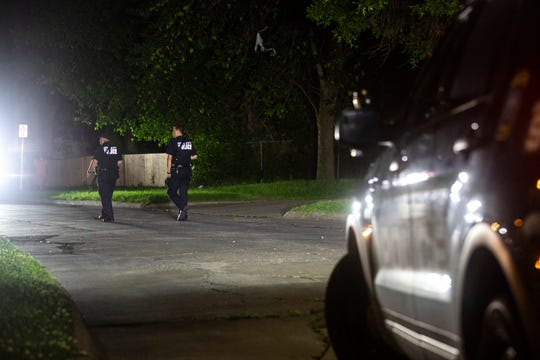 Iowa City Police investigate after a report of shots fired, Friday, June 21, 2019, in the 1000 block of Hollywood Blvd. in Iowa City, Iowa.