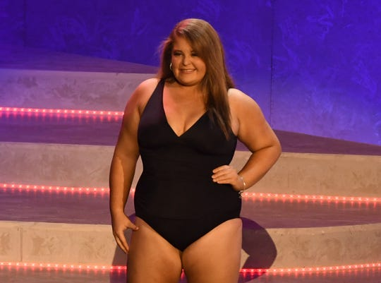 Miss UT-Martin Amanda Mayo walks on stage in her swimsuit during the 2019 Miss Tennessee Volunteer Scholarship Pageant Lifestyle & Fitness preliminary Friday, June 21.
