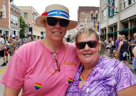 Becca and Cat Gephart celebrate Pridefest 2019 with their family.