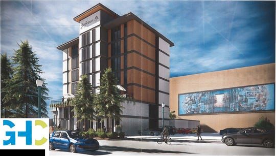 A rendering of a proposed redevelopment plan for the Buchanan Street garage and the block it occupies in downtown Lafayette from Grace Hebert Curtis Architects.