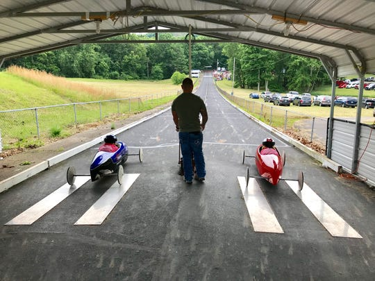 A pair get set at the starting gate to race down the track during Saturday's annual Lancaster Soap Box Derby.