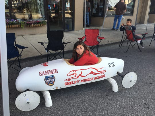 Sammie Thompson, 12, who will be entering seventh grade at Shelby Middle School in the fall, won the super stock championship in a field of 13 racers.