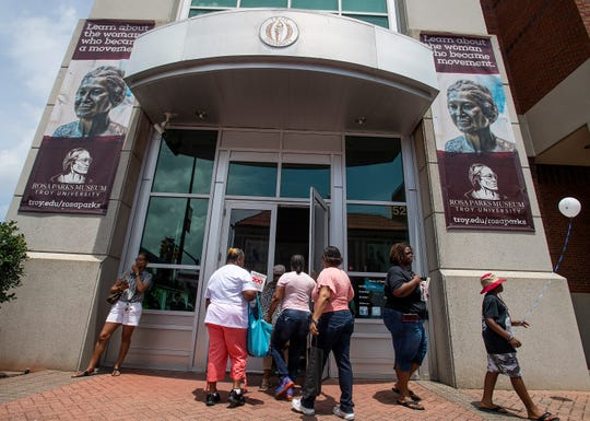 Free tours of the Rosa Parks Museum are given as the annual Juneteenth Celebration is held in front of the Rosa Parks Museum in Montgomery, Ala., on Saturday June 22, 2019.