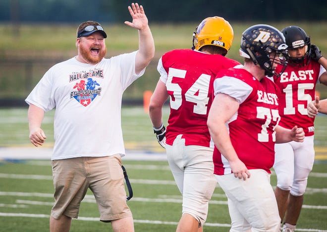 Delta coach Chris Overholt during the 19th annual Indiana Hall of Fame All Star Classic game at Delta High School Friday, June 21, 2019.