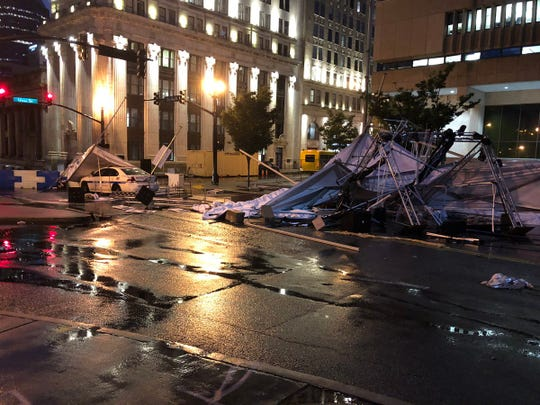 Damage in downtown Nashville is seen after severe storms and high winds passed through Friday night.