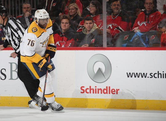 P.K. Subban of the Nashville Predators skates against the New Jersey Devils at the Prudential Center on October 25, 2018 in Newark, New Jersey.