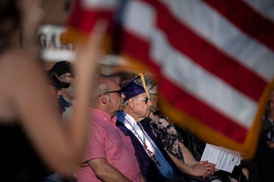 Navy veteran John Benanti, in cap and gown, enlisted in 1945 and was called up two weeks before graduation. He was honored and given a diploma during the Garfield High School graduation ceremony on Friday, June 21, 2019.