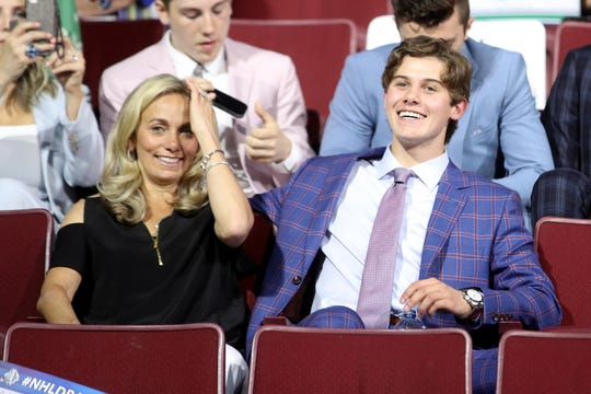 Top Prospect Jack Hughes looks on prior to the first round of the 2019 NHL Draft at Rogers Arena on June 21, 2019 in Vancouver, Canada.