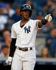 Jun 21, 2019; Bronx, NY, USA; New York Yankees left fielder Cameron Maybin (38) reacts during an at bat against the Houston Astros during the third inning at Yankee Stadium.