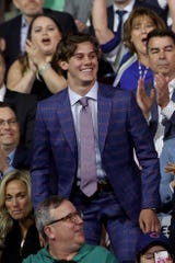 Jack Hughes smiles after being selected first overall by the New Jersey Devils during the first round of the 2019 NHL Draft at Rogers Arena on June 21, 2019 in Vancouver, Canada.