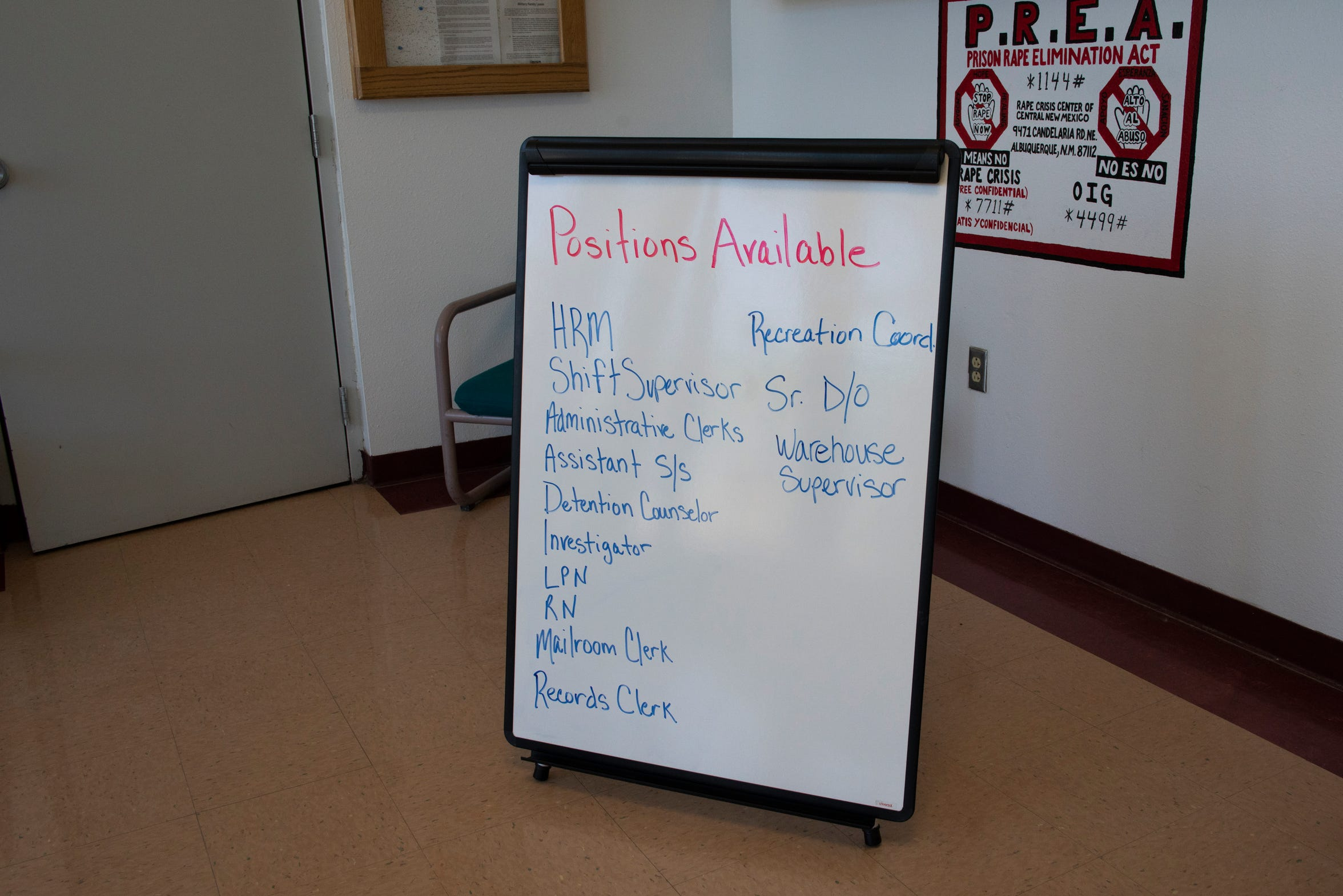 A sign, listing job openings, is displayed inside the reception area at the Torrance County Detention Facility in Estancia.