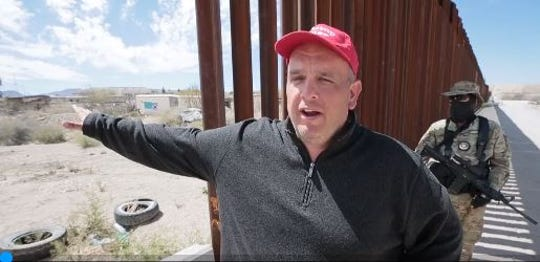 James Christopher Benvie, then the spokesman for the United Constitutional Patriots, stands at the U.S.-Mexico border in April 2019.
