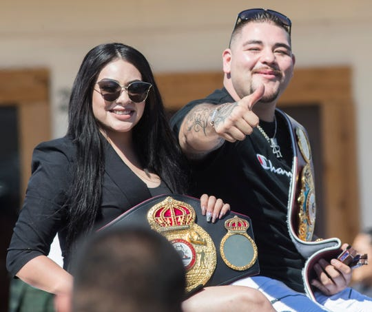 Heavyweight champion of the world, Andy Ruiz Jr., greets his fans during a parade in his honor in Imperial, California on June 22, 2019.