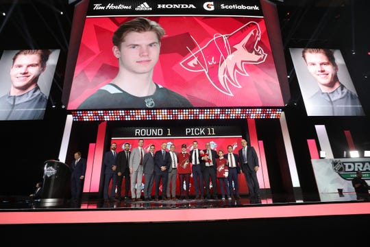 VANCOUVER, BRITISH COLUMBIA - JUNE 21: Victor Soderstrom reacts after being selected eleventh overall by the Phoenix Coyotes during the first round of the 2019 NHL Draft at Rogers Arena on June 21, 2019 in Vancouver, Canada. (Photo by Bruce Bennett/Getty Images)