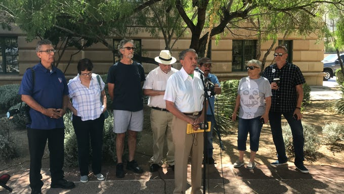 Roberto Reveles gives opening remarks at the rally on Saturday, June 22, 2019.