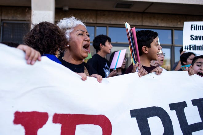 People protest on June 21, 2019, outside Phoenix Police Department Headquarters.