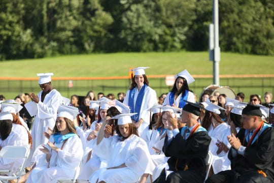 Chairs at Marlboro's graduation Friday would be more spread out than the scene pictured in 2019 here.