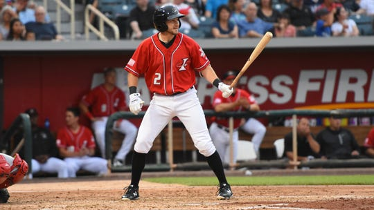 Reno High graduate Garrett Hampson is shown playing for the Albuquerque Isotopes.