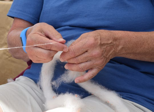 """Janis Conlon holds alpaca fiber as she spins it Saturday at the Staunton Farmers Market. Conlon said she and her husband have raised alpacas for nine years. """"Alpacas are raised primarily for their fiber, whereas llamas are primarily pack animals,"""" Conlon said."""