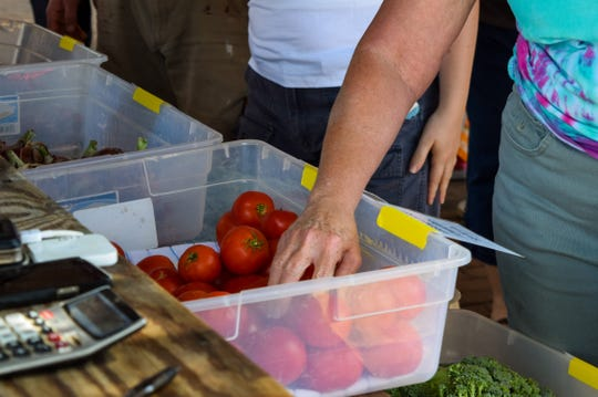 A customer reaches for a tomato on Saturday at the Staunton Farmers Market. The tomatoes were sold by Jim Randall and Sue Randall, who run Elk Run Farm.