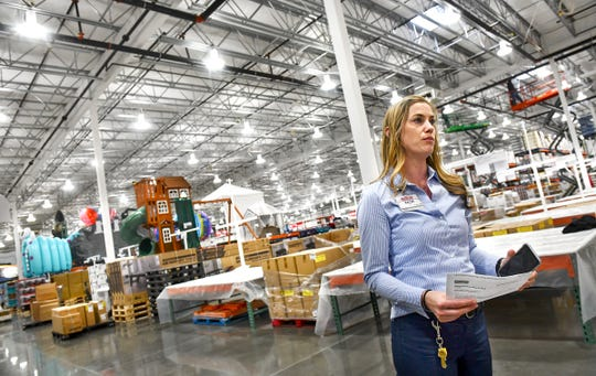 Store manager Katie Elder talks about progress on the store's opening schedule Tuesday, June 18, at the new Costco Wholesale 160,000-square -foot membership warehouse in St. Cloud.