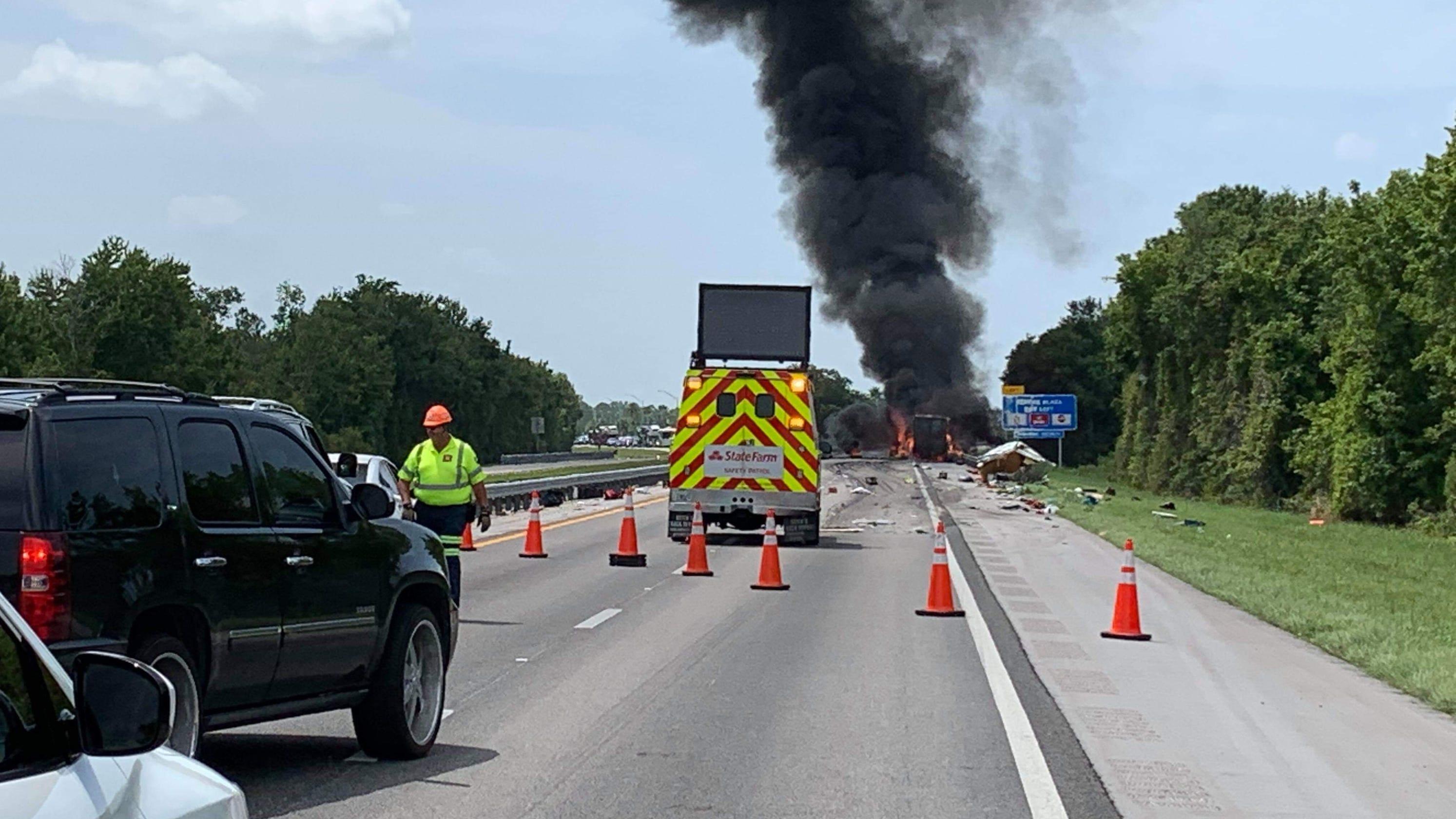 Fiery Turnpike crash in Okeechobee, Fort Drum between semi, slow SUV